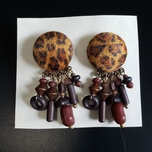 4/$25 Leopard print circular dangle earrings